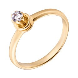 Помолвочное кольцо Орнелла в желтом золоте с фианитом