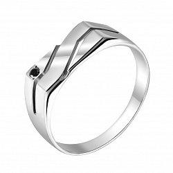 Серебряный перстень Рикард с черным фианитом