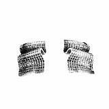 Серебряные серьги Шарф в клеточку с чернением