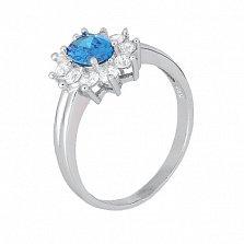 Серебряное кольцо с голубым фианитом Аглая