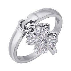 Серебряное кольцо с подвеской-клевером и фианитами 000106852