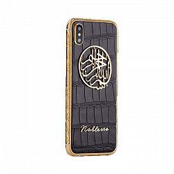 Apple iPhone XS MAX Noblesse Bismillah в черной коже аллигатора и золоте