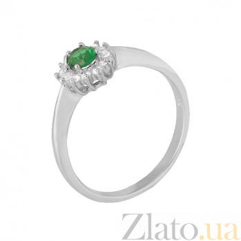 Серебряное кольцо с зеленым фианитом Милиани 000028316