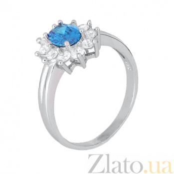 Серебряное кольцо с голубым фианитом Аглая SLX--КК2ФЛТ/375