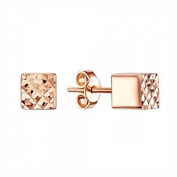 Золотые серьги-пуссеты Кубики в красном цвете с алмазной гранью 000119350