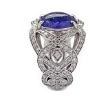 Золотое кольцо с бриллиантами и сапфиром Faina