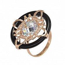 Кольцо в красном золоте Элизабет с агатом и фианитами