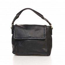 Кожаная сумка на каждый день Genuine Leather 8065 черного цвета на молнии с металлическими ножками