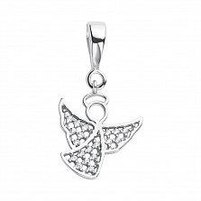 Серебряная подвеска Ангелочек с белым цирконием