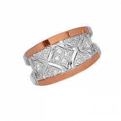 Серебряное кольцо Светлана с золотой вставкой и фианитами