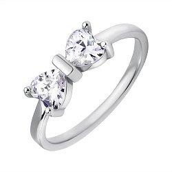 Серебряное кольцо Узы любви с бантиком на шинке и фианитами