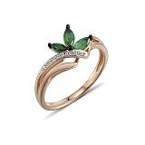 Кольцо из красного золота Кейт с бриллиантами и изумрудами
