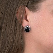 Серебряные серьги Тайны красоты с черным ониксом и фианитами