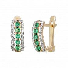 Золотые серьги с изумрудами и бриллиантами Морские волны