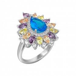 Серебряное кольцо Корделия с разноцветными фианитами