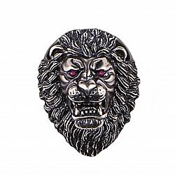 Серебряный кулон-шарм Готический лев с красными синтезированными корундами и чернением
