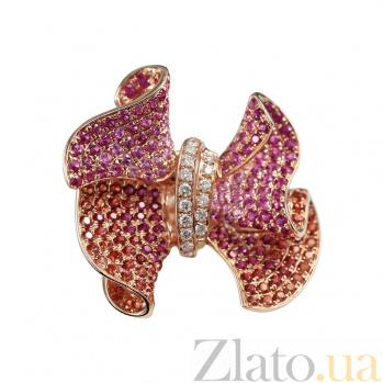 Золотое кольцо с сапфирами, рубинами и бриллиантами Глориоза 000026826