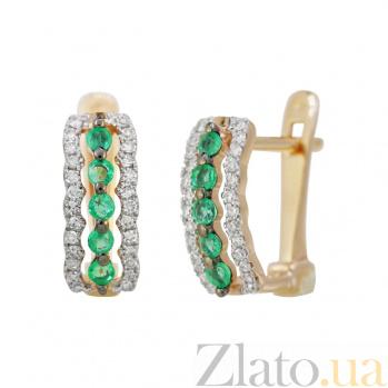 Золотые серьги с изумрудами и бриллиантами Морские волны 000032328