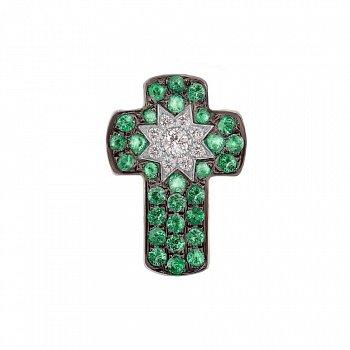 Крестик из белого золота Счастливая звезда с бриллиантами и цаворитами 000017041