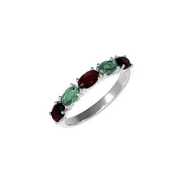 Серебряное кольцо Паула с гранатами и зеленым кварцем 000063254