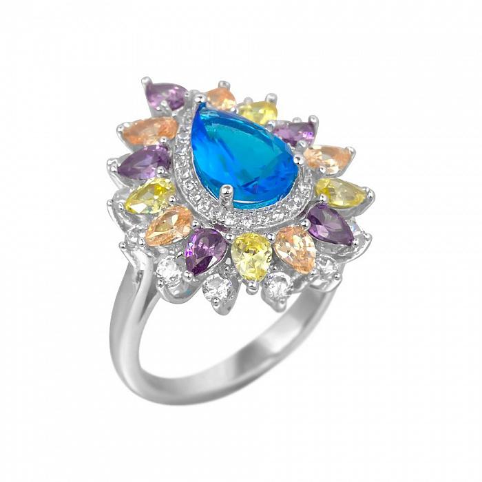 Серебряное кольцо Корделия с разноцветными фианитами 000081536