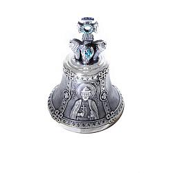 Бронзовый колокольчик Св. Игорь с голубыми фианитами 000004417