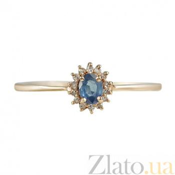 Золотое кольцо с сапфиром и бриллиантами Магия небес 000026861