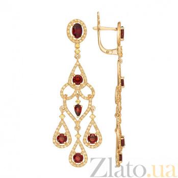 Серьги из желтого золота с красным цирконием Кармен VLT--ТТТ2369