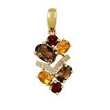 Золотой кулон с раухтопазами, цитринами, гранатами и бриллиантами Аделфа