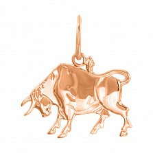 Кулон из красного золота Знак Зодиака Телец 000131555