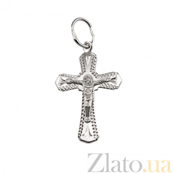 Крестик из серебра Иисус Всеблагий с родиевым покрытием HUF--311091-Р