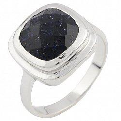 Серебряное кольцо Палладия с синим авантюрином