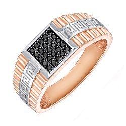 Золотой перстень-печатка в комбинированном цвете с черными фианитами 000138604