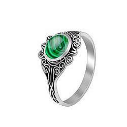 Серебряное кольцо Кларисса с малахитом 000056969