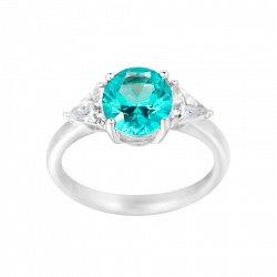 Серебряное кольцо Диана с синтезированным турмалином и фианитами