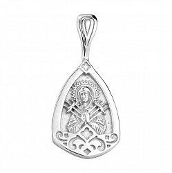 Узорная серебряная ладанка Семистрельная Божья Матерь с родированием 000130881