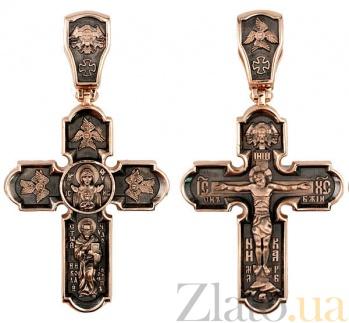 Золотой крестик с черным родием Животворящий VLT--КС3016-3