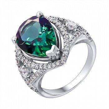 Серебряное кольцо с зеленым кварцем и фианитами 000012640