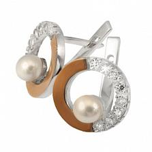 Серебряные серьги Идиллия с жемчугом, фианитами и золотой вставкой