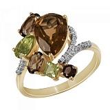 Кольцо из желтого золота Гармония с раухтопазом, кварцем, хризолитом и бриллиантами
