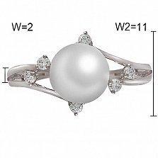Кольцо Карлин из белого золота с бриллиантами и жемчугом