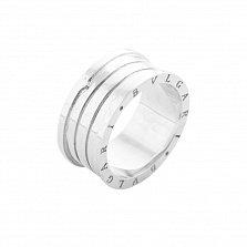 Золотое кольцо Голос тишины в белом цвете в стиле Булгари