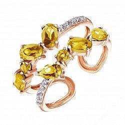 Разомкнутое кольцо из красного золота с цитринами и фианитами 000135598
