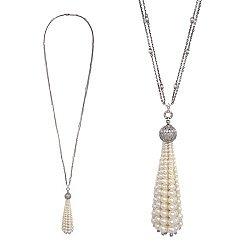 Срібний сотуар з білими сапфірами і перлами Жаклін 000030735