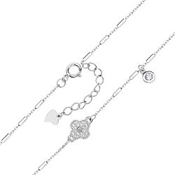 Серебряный браслет с подвеской и фианитами 000130368