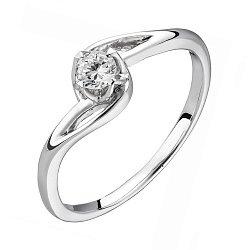 Золотое кольцо в белом цвете с бриллиантом 0,18ct 000050469