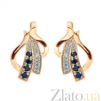 Золотые серьги с бриллиантами и сапфирами Аркадия 000021773