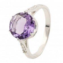 Серебряное кольцо Ванда с аметистом и фианитами