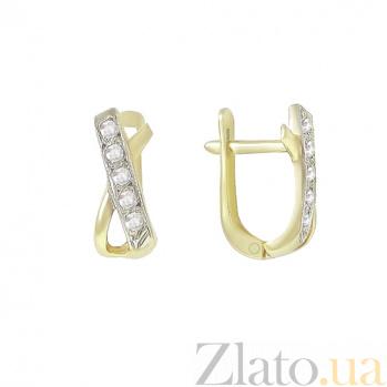 Золотые серьги с фианитами Виола 2С143-0360