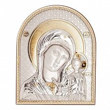 Серебряная Казанская икона Божьей Матери позолоченная